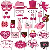 Valentines Day Photo Booth Props Kit, PERFQU Funny Disguise Props Valentines Day Decorations, Easy DIY Needed Party Decorations Mustaches Lips Hearts Valentines Photography Props Wedding Photo Props - 28pcs