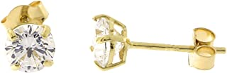 14k Yellow, White or Rose Gold Basket Set Cubic Zirconia Stud Earrings