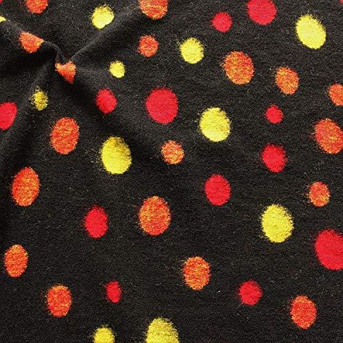 STOFFKONTOR Wollmix Walkstoff, Lana Cotta Stoff Meterware, Schwarz mit gelben und roten Punkten
