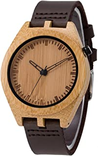 Wood Watch,Bosan Casual Lightweight Bamboo Wooden Wrist Watch for Men Genuine Leather Strap