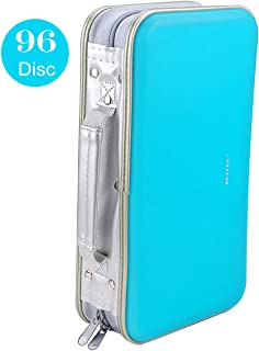 CD DVD Wallet, Wismart 96 Capacity Heavy Duty Sturdy DVD Storage Hard Shell CD Disk Holder DVD Case VCD Wallets Blu-ray Media Case Storage Holder Organizer Wallet,96 Capacity (SkyBlue)