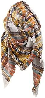 Pumsun Women Winter Warm Colored Grid Shawl Collar Ladies Long Printing Plaid Scarf (G)