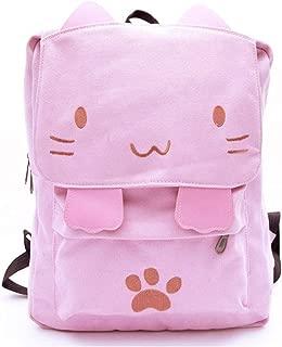 Cute Cat Canvas Backpack Schoolbag Lightweight Bookbag For Women Kids Girls Outdoor(pink01)