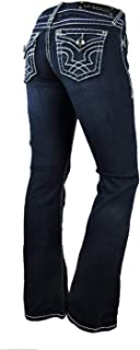 LA Idol Women Plus Bootcut Jeans White Bold Stitching Stretch in Dark Blue