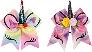 Oaoleer 7 inch Unicorn Cheer Bows for Cheerleader Girls Rainbow Hair Ponytail Tie with Elastic Band Pack of 2 (2pcs Unicorn Bows)