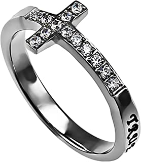 Sideway Cross Ring TRUE LOVE WAITS 1 TIM. 4:12 Stainless Steel Christian Bible Scripture Jewelry