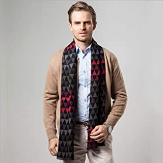 Scarf Imitation Cashmere Male Fall Winter New Geometric Print Two-Sided Business Leisure Bib Gift` TuanTuan (Color : Navy)