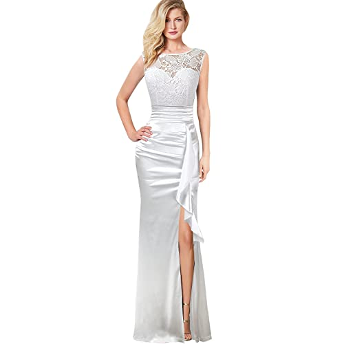 9c78069beb VFSHOW Womens Formal Ruched Ruffles Evening Prom Wedding Party Maxi Dress