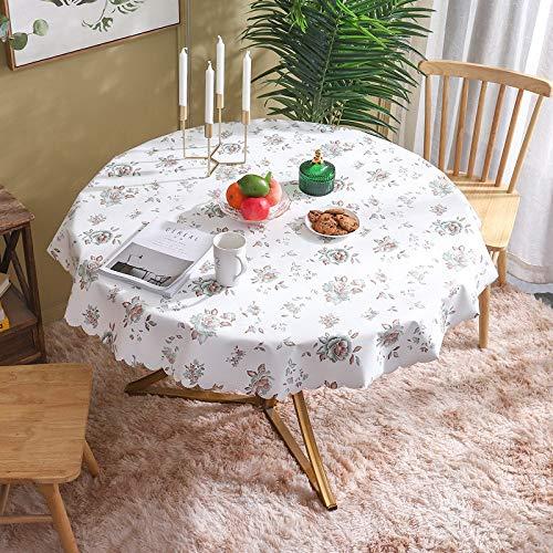 LIUJIU Simple y elegante mantel de borla, de algodón y lino, mantel lavable, utilizado para decoración de mesa de cocina, diámetro de 110 cm
