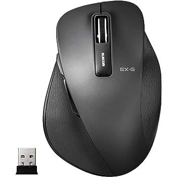 エレコム マウス ワイヤレス (レシーバー付属) Lサイズ 5ボタン (戻る・進むボタン搭載) BlueLED 握りの極み ブラック M-XGL10DBBK