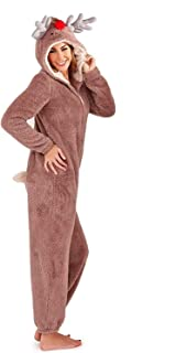 Ladies Girls Reindeer Fleece Onesie Christmas One Piece All in One Jumpsuit