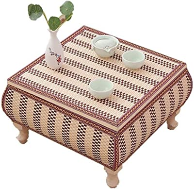 C-J-Xin Floor-Style Tea Table, Bamboo Two Uses Coffee Table Balcony Japanese Restaurant Hotel Negotiating Table Multifunctional End Table Save Space (Size : 60 * 60 * 30cm)