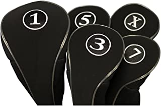Black Golf Zipper Head Covers Driver 1 3 5 7 X Fairway Woods Headcovers Metal Neoprene Traditional Plain Protective Covers Fits All Fairway Clubs