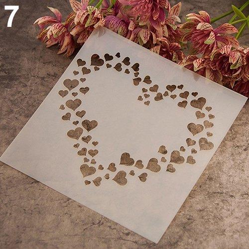 Kuizhiren1 Malvorlage Schablone für Scrapbooking, modische wiederverwendbare Schablone Kunst DIY Home Decor Scrapbooking Album Craft Malvorlage Kunststoff Kaffee Kuchen Formen Schablonen 7