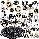 tacobear 130 pezzi ciondoli smaltati assortiti e bottoni neri per gioielli fai-da-te borsa scarpa fiore arco ciondolo charms pendenti per creazione gioielli collane bracciali orecchini portachiavi