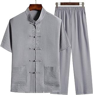 FMOGQ Hanfu Tang zestawy garniturów męskie tradycyjne chińskie ubrania, tai Chi garnitur bawełniany len krótki rękaw Kung ...
