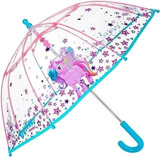Paraguas Transparente Unicornio Niña - Paraguas Infantil de Burbuja Cupula de Colores con Estrellas Resistente Antiviento...