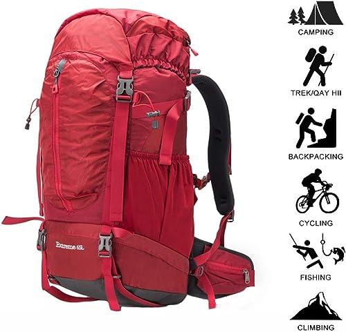 Sac Dos Knapsack sac à dos sac à dos Grand 65L Léger Résistant à l'eau Voyage Sac à Dos Daypack Hanche Ceinture Extérieure Escalade Camping Randonnée Voyage ZHAOYONGLI (Couleur   rouge, Taille   65l)