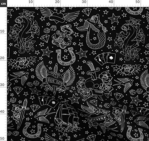Tätowierung, Schwalben, Rosen, Totenköpfe, Panther Stoffe - Individuell Bedruckt von Spoonflower - Design von Crixtina Gedruckt auf Baumwoll Spandex Jersey