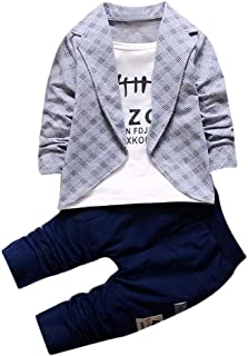 DaySeventh Boys' Handsome Outfit Clothes Checked Vest Tie Shirt Long Top Pants