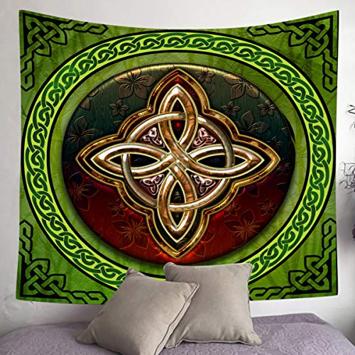 UHOMETAP Celtic Tapestry, Irish Circular Love Knot Good Fortune Tapestry Wall Hanging Wall Art Decor Bedroom Living Room Dorm Decor, 60x60 Inches GTWYUH323