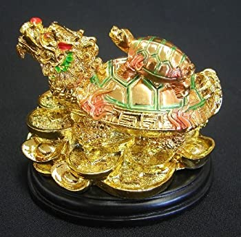 Colorful Feng Shui Dragon Turtle Chinese Dragon Tortoise on Coins and Ingot