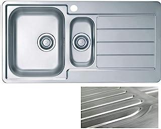 VBChome: Einbauspüle mit Hahnloch 980 x 500 mm Camping Küchenspüle - Satinstruktur Alveus Line 10 Spülbecken EDELSTAHL 1,5 Becken Abtropffläche Rechts Ablaufgarnitur