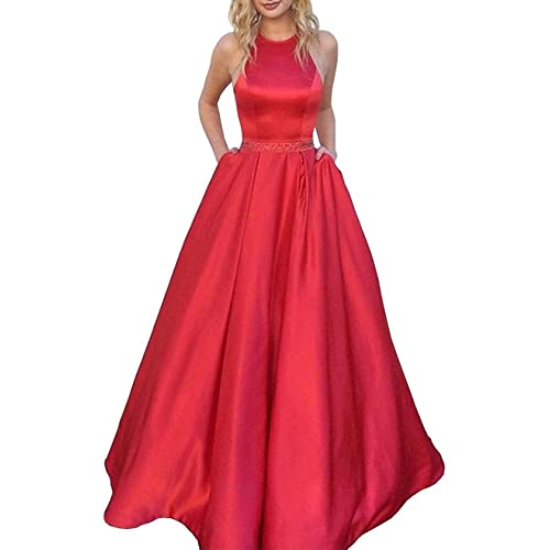 989cbac7 Prom Dresses Long Halter Satin Beaded Backless Formal Evening Gown with  Pockets