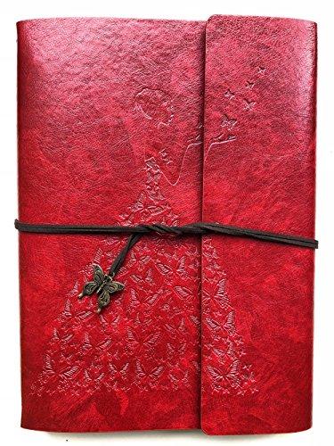 SmilingArt Fotoalbum zum selbst basteln, Scrapbook DIY, A4 Fotobuch, Tagebuch, 30 Blätter / 60 Seiten, Geschenk für Hochzeit, Geburtstag, Frau Cover (Rot, Groß)