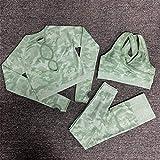 Hbao Yoga-Kleidung Yoga-BH Sportkleidung Fitness-Studio Fitness Kleidung Fitness Hosen Sport Nahtlose Camouflage + langärmelige Kleidung Frauen (Color : Green, Size : Large)