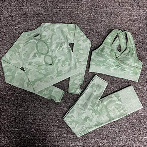 Hbao Yoga-Kleidung Yoga-BH Sportkleidung Fitness-Studio Fitness Kleidung Fitness Hosen Sport Nahtlose Camouflage + langärmelige Kleidung Frauen (Color : Green, Size : Small)