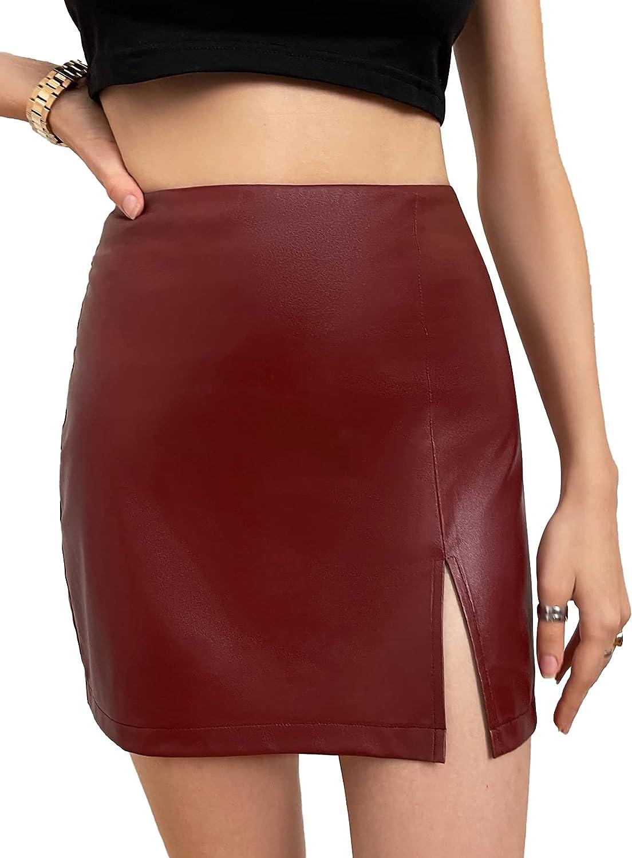 SheIn Women's Basic PU Leather Slit Hem High Waist Mini Skirt