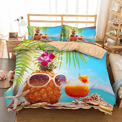 YAOL Ropa de cama 3D con bonitos diseños de playa y océano, funda nórdica con cremallera (P3, 140 x 210 cm + 1 funda de almohada 75 x 50 cm)
