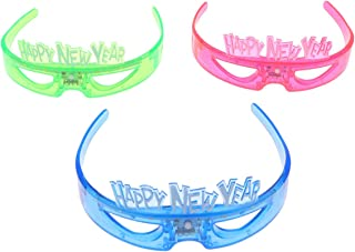 Amosfun Happy New Year Flashing Glasses Funny New Year LED Light Up Glasses Party Favors for New Year Christmas Party Supplies 3PCS (Random Color)