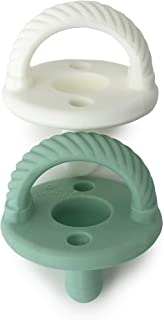 Itzy Ritzy Sweetie Soother Pacifier Set of 2- Silicone Newborn Pacifiers with Collapsible Handle & Two Air Holes for Added Safety; Set of 2 in Green and White, Ages Newborn & Up