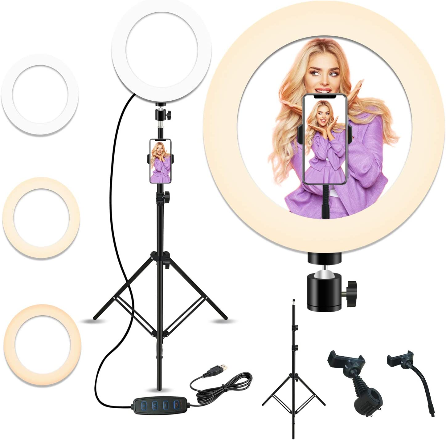 PETEME 10'' Selfie New Nashville-Davidson Mall item Ring Light with 28.1'' T to 83.8'' Extendable