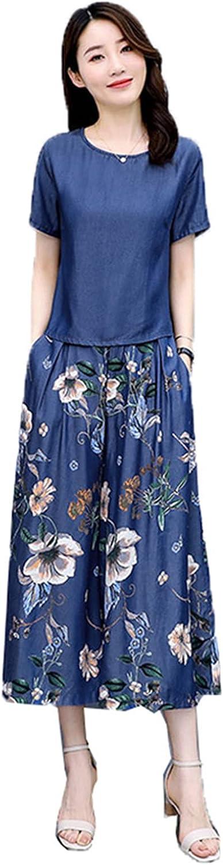 Fashion Women's Summer Suits Printing Cowboy Pants Sets Casual Tops and Wide-Leg Jeans 2 Pcs Sets Skirt Pants