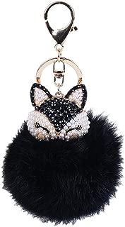 Lavany Key Chain Faux Fur Ball with Artificial Fox Head Inlay Pearl Rhinestone Keychain Bag Plush Car Key Ring Charm Pendant Gift (Black)
