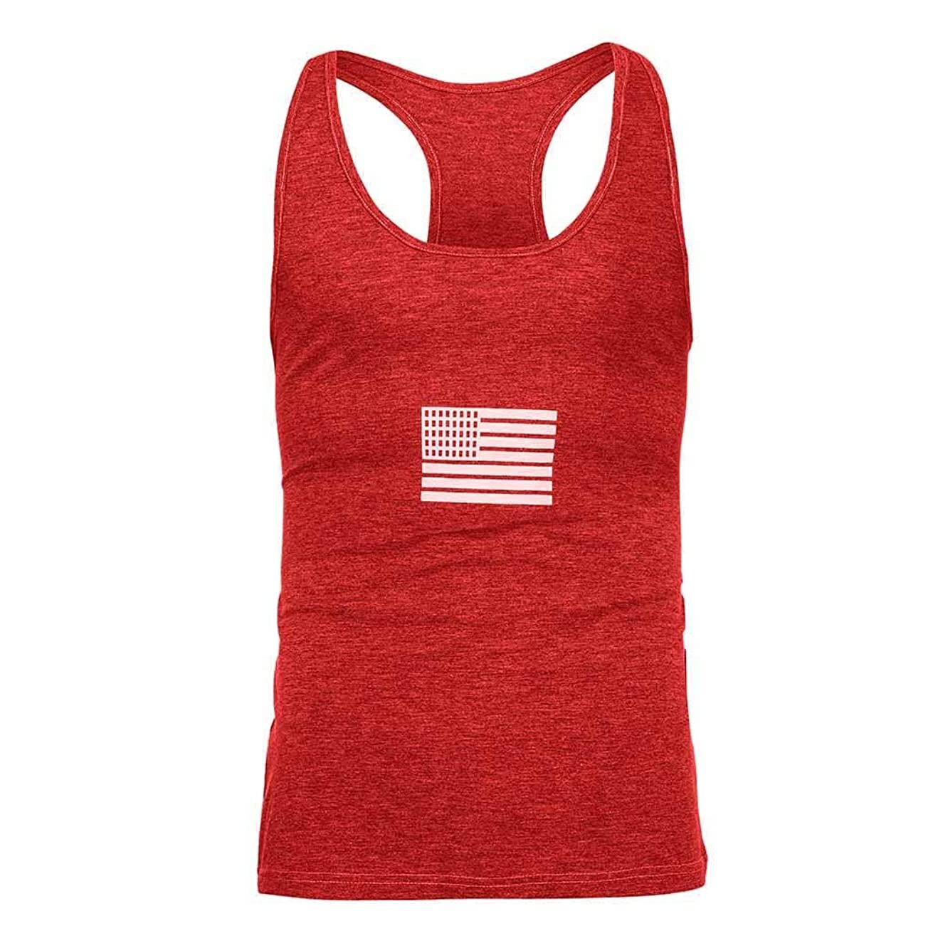 Mens Vests Summer Flag Printed Sports Vest Tank Tops Striped Large Open-Forked Athletics Quick Dry Top