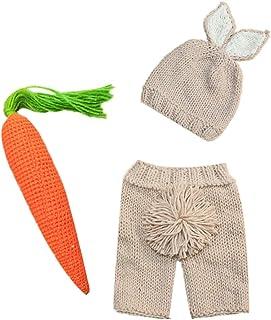 IWEMEK Newborn Baby Boy Girl 3pcs Photography Props Costume Easter Bunny Handmade Crochet Knit Rabbit Beanie Diaper Hat Set