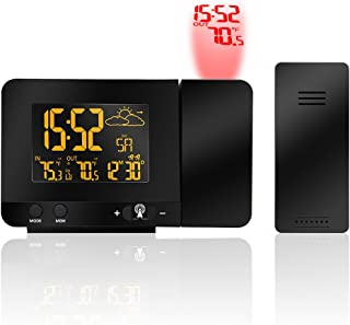 Protmex SH3531B Projection Clock, Digital Weather Station with Dual Alarms, Indoor Thermometer, USB Phone Charging, Colorful Backlight Function