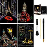 Wbeng Scratch & Sketch Art for Kids & Adults, Rainbow Painting Night View Scratchboard(A4), Art & Craft,...