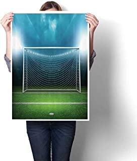 SCOCICI1588 Canvas Wall Art Large Romantic Oil Painting Soccer Goal Post Sports Area Winner Loser Line Floodlitst Team Finals Game Gym On Canvas,12