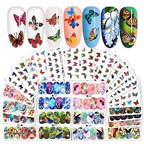 MWOOT 24 Blatt Nagelsticker Blumen, Butterfly Nail Art Stickers, Schmetterling Nagelaufkleber Abziehbilder Nagel Wassertransfer Abziehbilder für DIY Nageldesign Dekoration