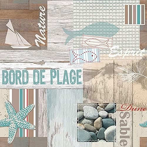 PVC Tischdecke Esprit Maritim Taupe Weiss Wachstuch · Breite & Länge wählbar · abwaschbare Tischdecke · Mint braun, Größe:100 x 150 cm