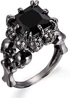 RMM Womens Skulls Ring Engagement Wedding Black and Silver Gothic Womens Ring Size 6-10