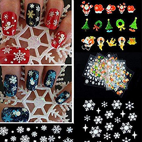 ZUMUii Butterme 12Pegatinas para uñas, Motivos navideños, Copos de Nieve, árbol, decoración.