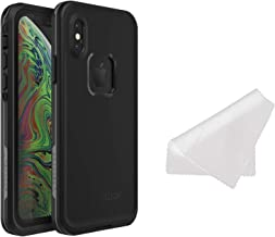 Lifeproof FRĒ Series Waterproof Case for iPhone Xs (ONLY) with Cleaning Cloth - Retail Packaging - Asphalt (Black/Dark Grey)