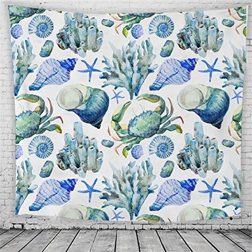 WERT Vida Marina Tapiz Azul Alfombra Colgante de Pared Dormitorio Artista de Tapiz decoración del hogar Manta Tiro Yoga Estera de Playa A8 150x130cm