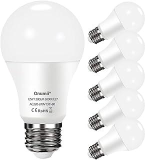 Onumii Bombilla LED E27 Blanco Calido 3000K, 12W 1200 Lúmenes Equivalente a 100W, No Regulable, Pack de 6 Unidades